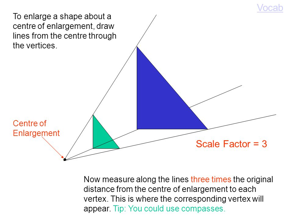 To enlarge a shape on a centimetre grid, simply multiply the lengths by the scale factor.