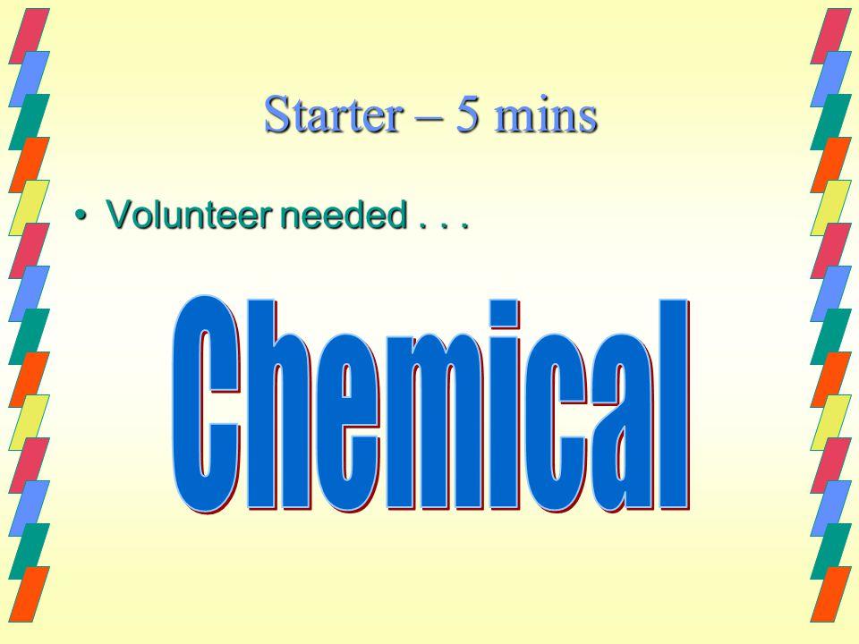 Starter – 5 mins Volunteer needed...Volunteer needed...