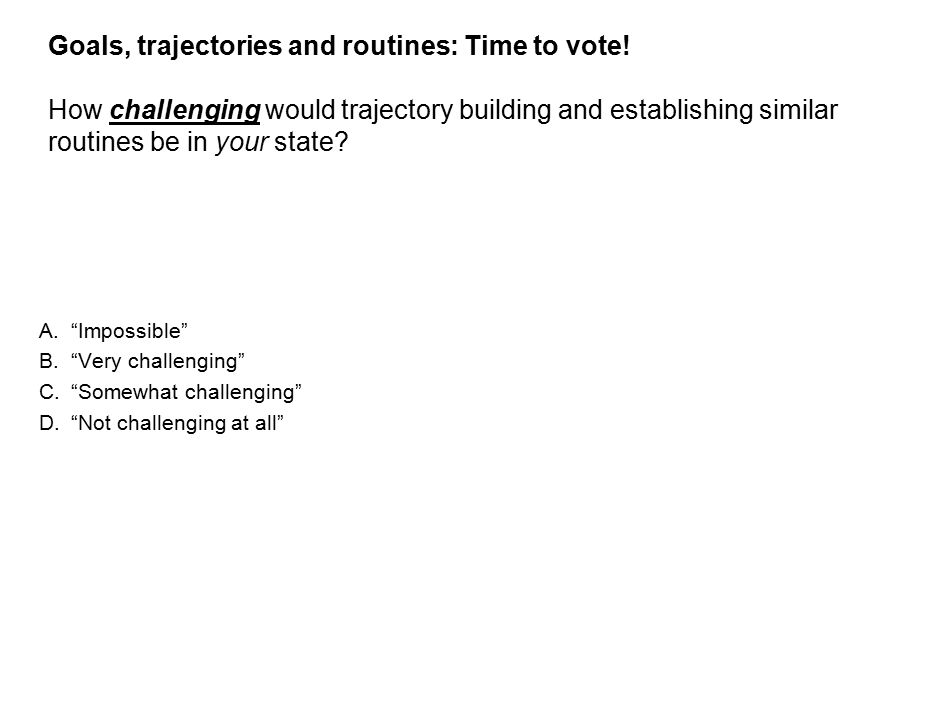 24 Goals, trajectories and routines: Time to vote.