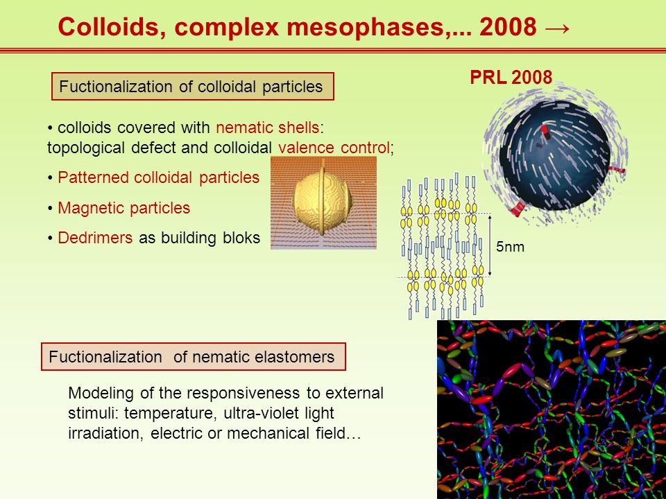 Colloids, complex mesophases,...