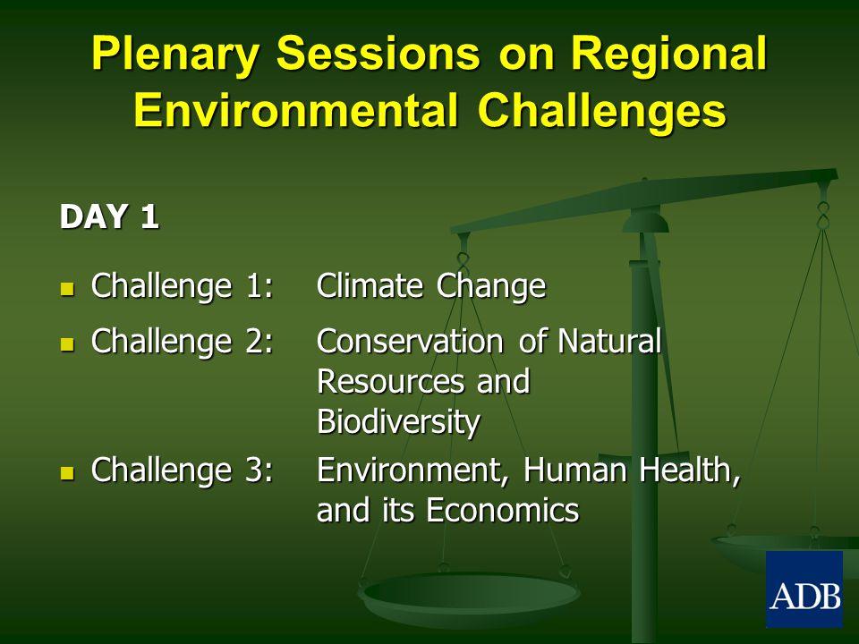 Plenary Sessions on Regional Environmental Challenges DAY 1 Challenge 1: Climate Change Challenge 1: Climate Change Challenge 2: Conservation of Natur