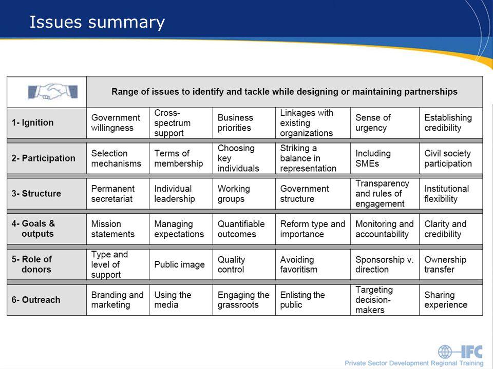 19 Issues summary