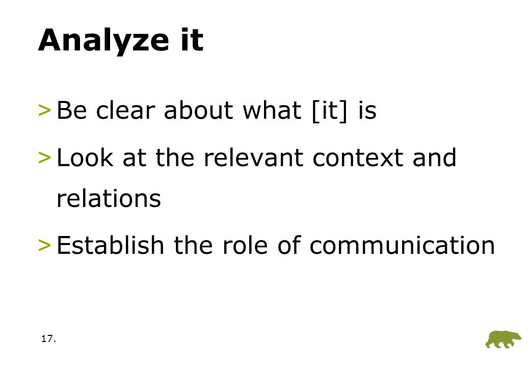 17. Analyze it >Be clear about what [it] is >Look at the relevant context and relations >Establish the role of communication
