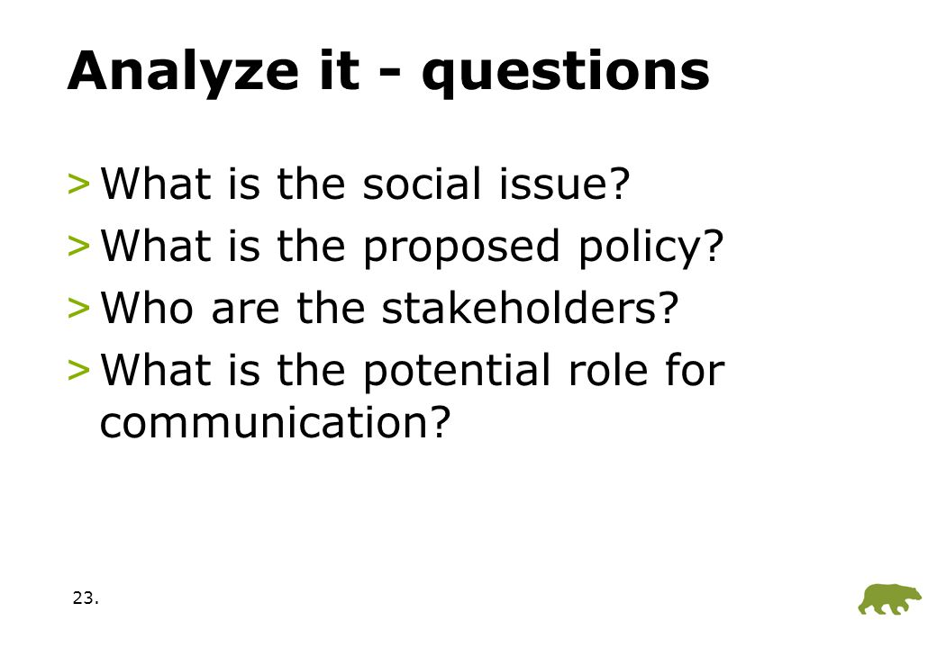 23.Analyze it - questions >What is the social issue.