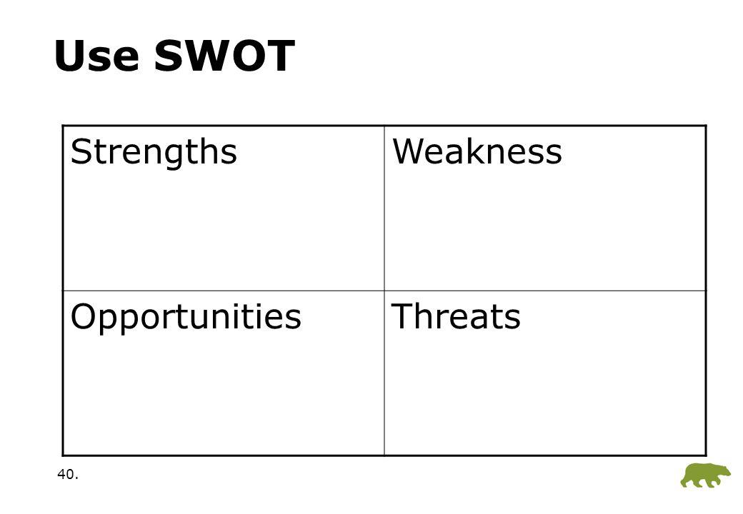 40. Use SWOT StrengthsWeakness OpportunitiesThreats