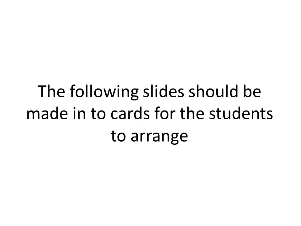 The following slides should be made in to cards for the students to arrange