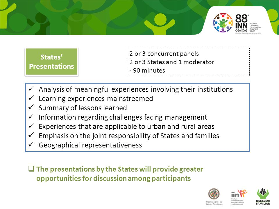 Analysis of meaningful experiences involving their institutions Learning experiences mainstreamed Summary of lessons learned Information regarding challenges facing management Experiences that are applicable to urban and rural areas Emphasis on the joint responsibility of States and families Geographical representativeness 2 or 3 concurrent panels 2 or 3 States and 1 moderator - 90 minutes  The presentations by the States will provide greater opportunities for discussion among participants States' Presentations