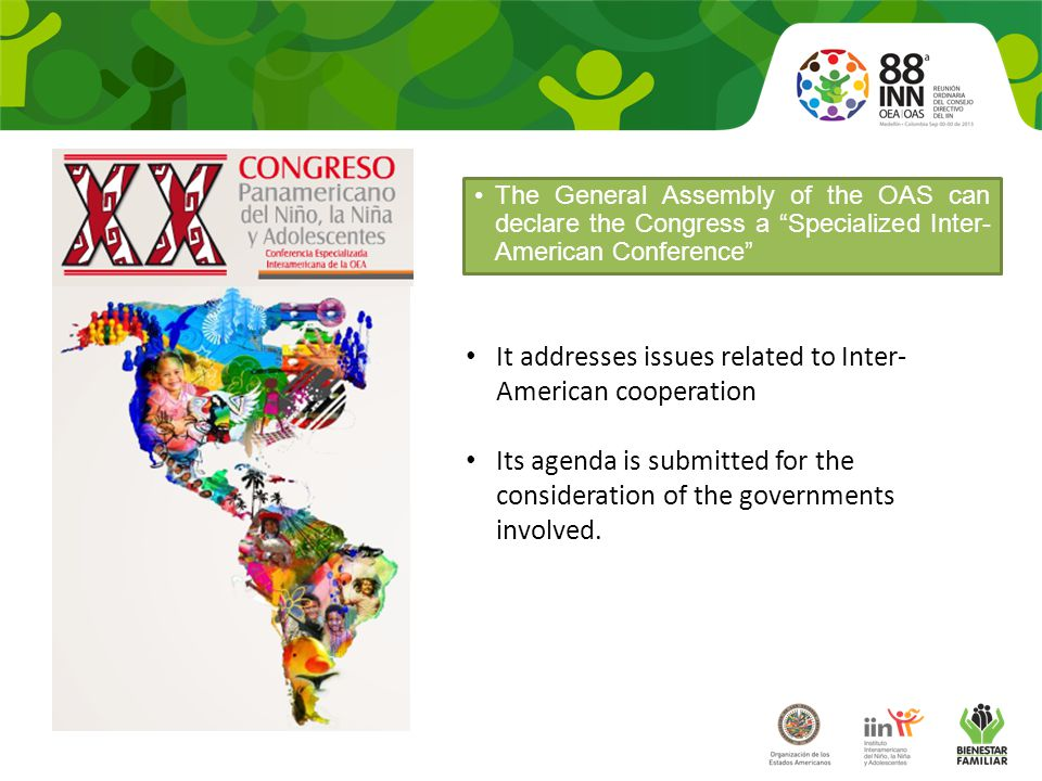 Objectives To guarantee opportunities for sharing between children, and across generations with participants at the Twentieth Pan American Congress.
