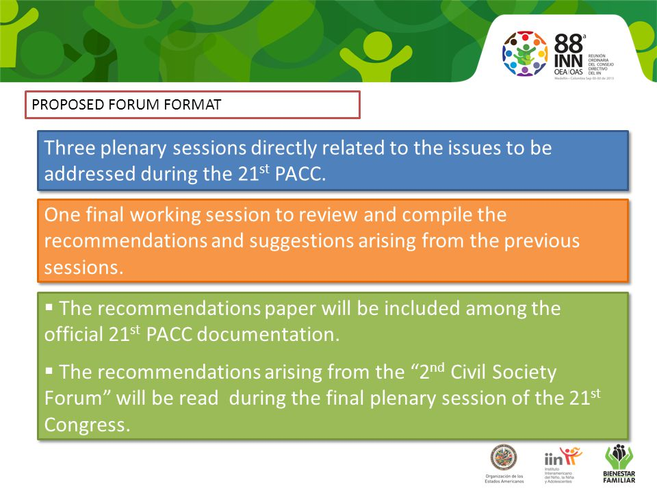 PROPOSED FORUM FORMAT Three plenary sessions directly related to the issues to be addressed during the 21 st PACC.