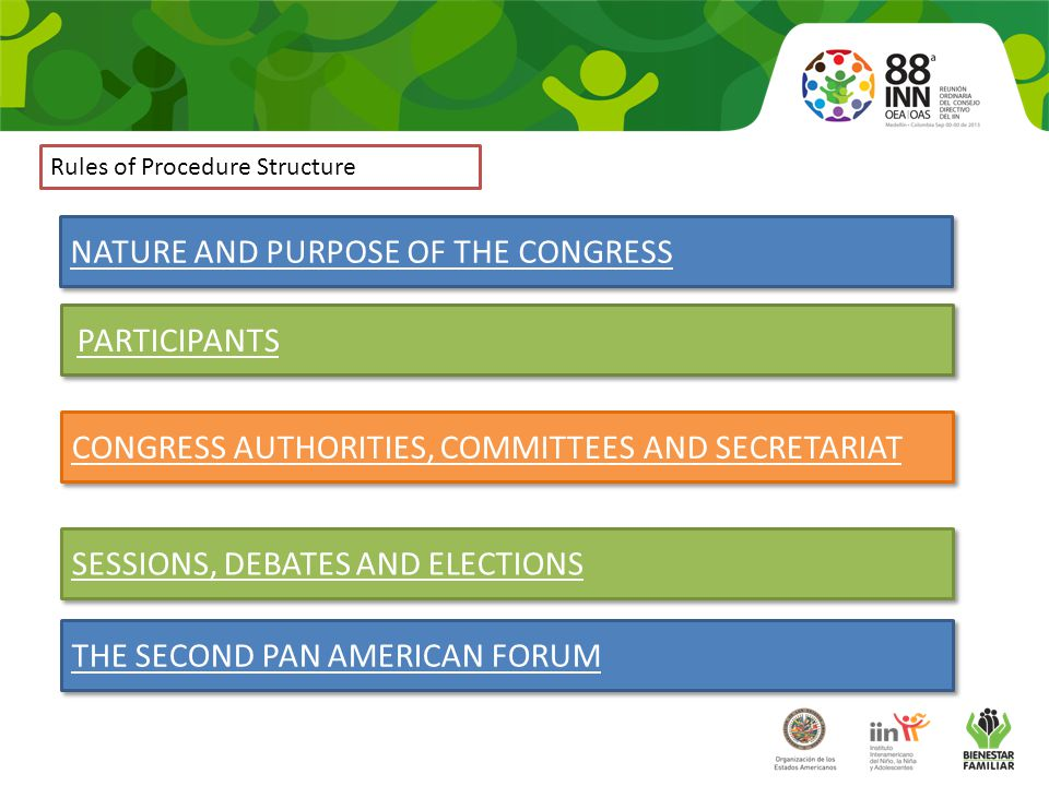 Rules of Procedure Structure NATURE AND PURPOSE OF THE CONGRESS PARTICIPANTS SESSIONS, DEBATES AND ELECTIONS CONGRESS AUTHORITIES, COMMITTEES AND SECRETARIAT THE SECOND PAN AMERICAN FORUM
