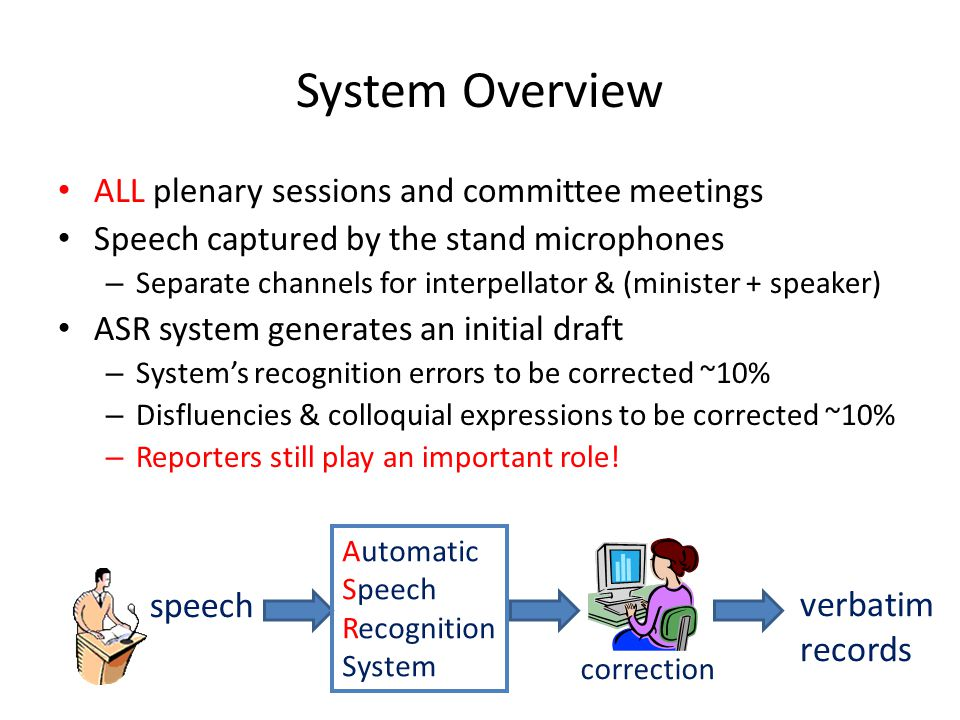 System Overview ALL plenary sessions and committee meetings Speech captured by the stand microphones – Separate channels for interpellator & (minister + speaker) ASR system generates an initial draft – System's recognition errors to be corrected ~10% – Disfluencies & colloquial expressions to be corrected ~10% – Reporters still play an important role.