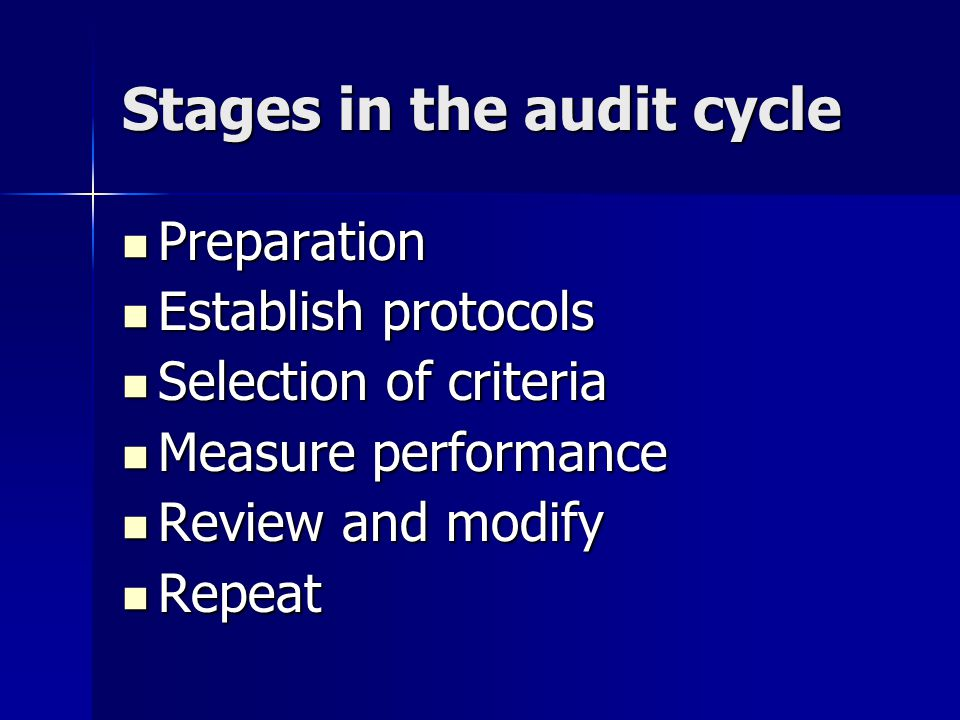 Stages in the audit cycle Preparation Preparation Establish protocols Establish protocols Selection of criteria Selection of criteria Measure performance Measure performance Review and modify Review and modify Repeat Repeat