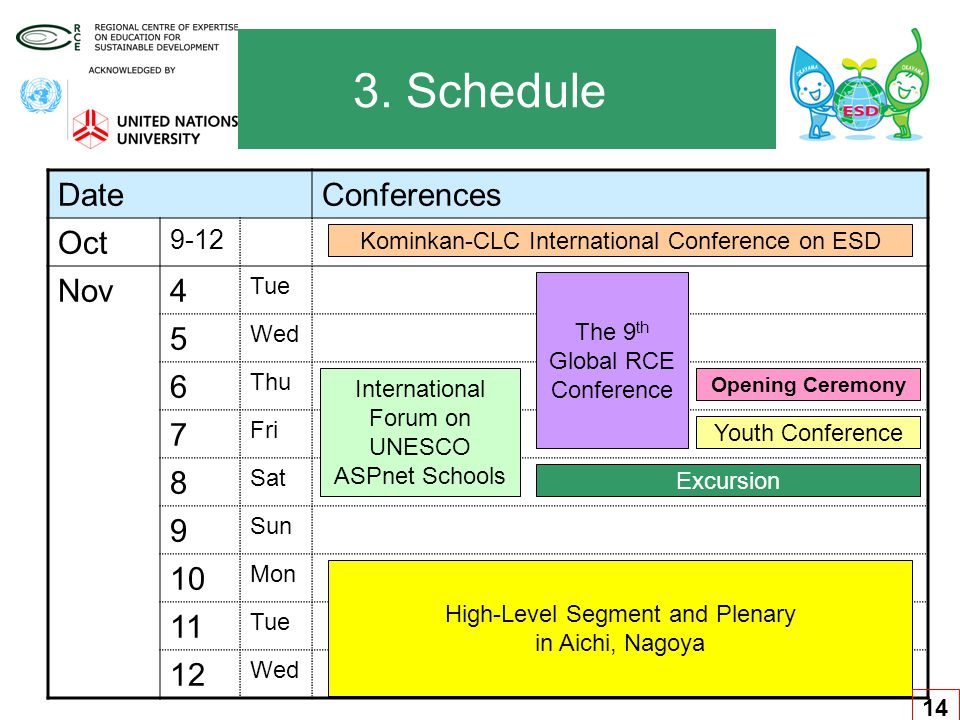 3. Schedule DateConferences Oct 9-12 Nov4 Tue 5 Wed 6 Thu 7 Fri 8 Sat 9 Sun 10 Mon 11 Tue 12 Wed Kominkan-CLC International Conference on ESD Internat