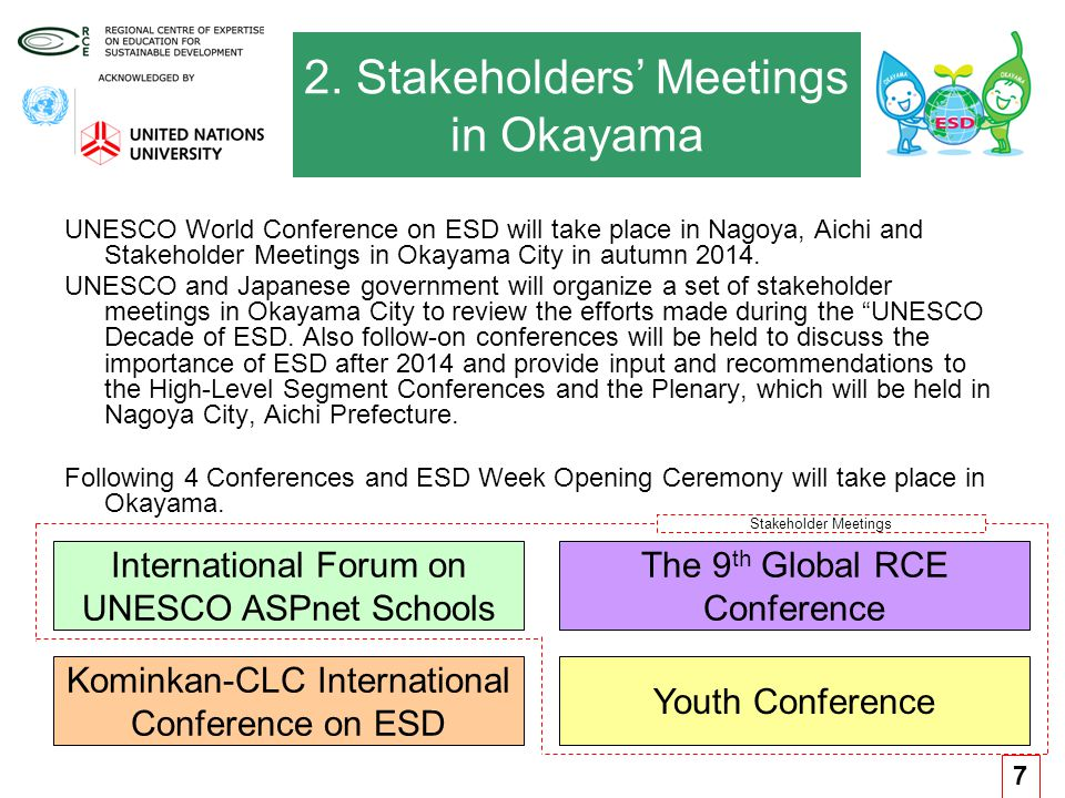 2. Stakeholders' Meetings in Okayama UNESCO World Conference on ESD will take place in Nagoya, Aichi and Stakeholder Meetings in Okayama City in autum