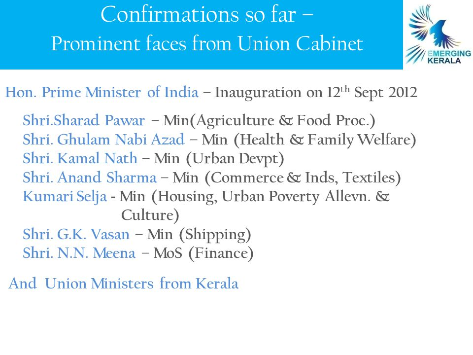 Prominent Corporates/ CEOs include: Mr.S. Gopalakrishnan, Executive.Co-Chairman, Infosys Shri.