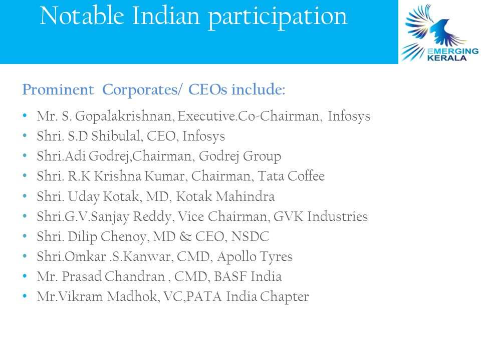 Prominent Corporates/ CEOs include: Mr. S. Gopalakrishnan, Executive.Co-Chairman, Infosys Shri.