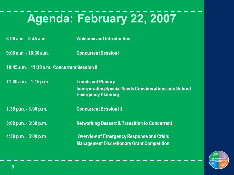 3 Agenda: February 22, 2007 8:00 a.m. - 8:45 a.m. Welcome and Introduction 9:00 a.m. - 10:30 a.m.Concurrent Session I 10:45 a.m. - 11:30 a.m. Concurre