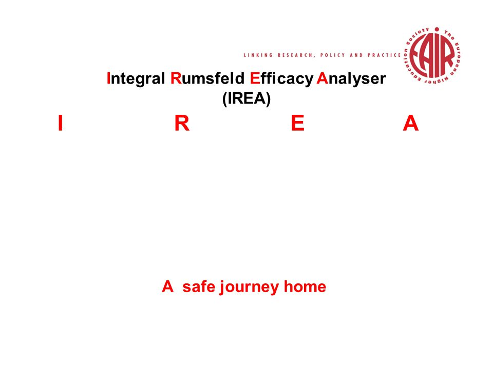 Integral Rumsfeld Efficacy Analyser (IREA) IREA A safe journey home