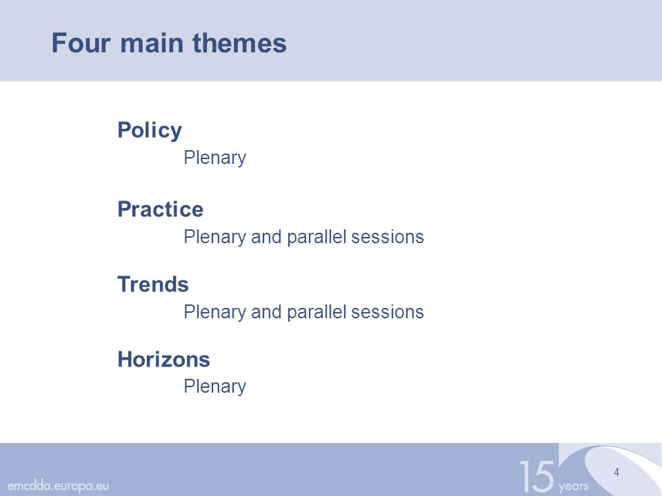 4 Four main themes Policy Plenary Practice Plenary and parallel sessions Trends Plenary and parallel sessions Horizons Plenary