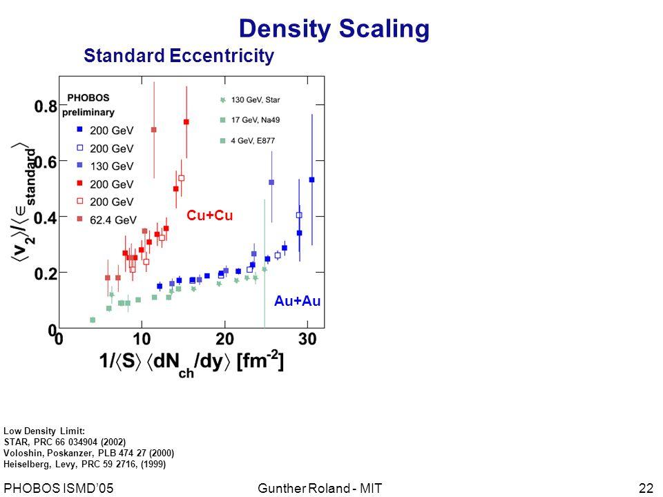 Gunther Roland - MITPHOBOS ISMD'0522 Standard Eccentricity Cu+Cu Au+Au Low Density Limit: STAR, PRC 66 034904 (2002) Voloshin, Poskanzer, PLB 474 27 (2000) Heiselberg, Levy, PRC 59 2716, (1999) Density Scaling