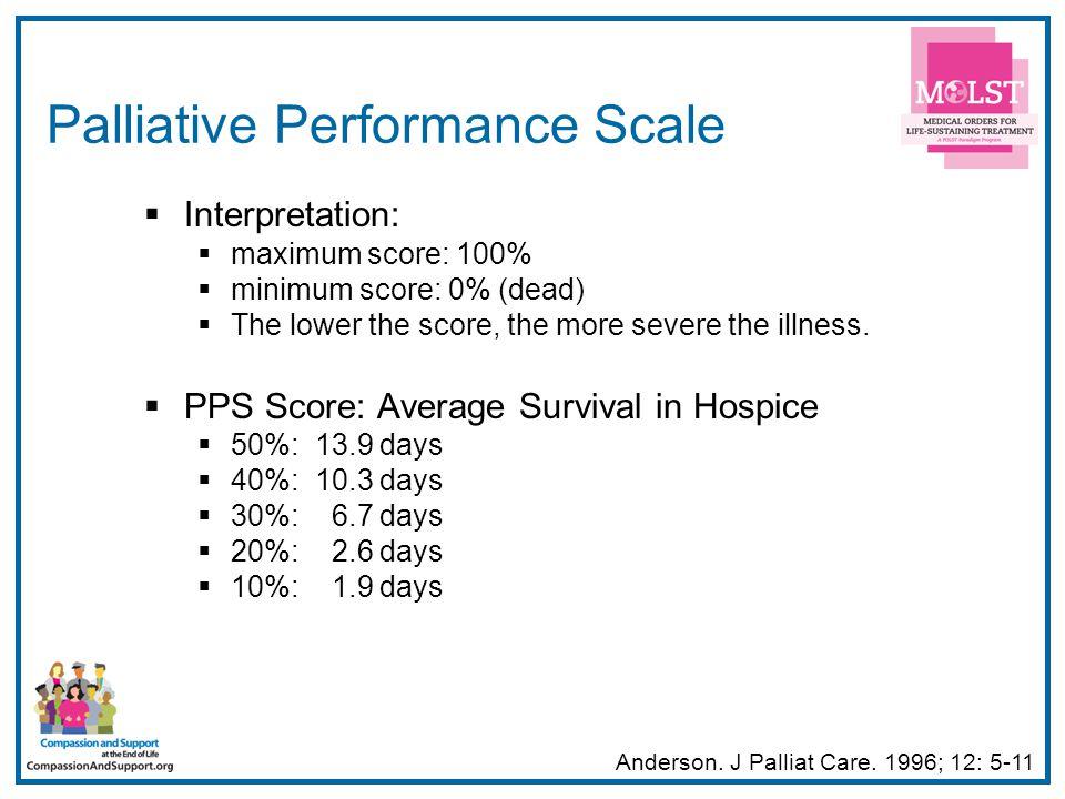 11 Palliative Performance Scale  Interpretation:  maximum score: 100%  minimum score: 0% (dead)  The lower the score, the more severe the illness.