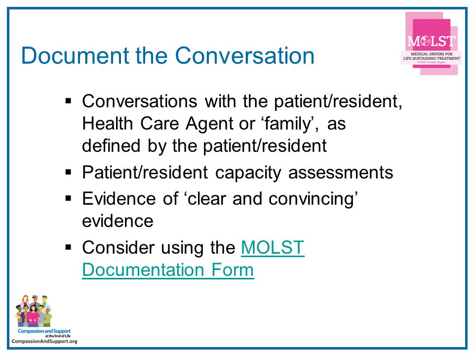 33 Document the Conversation  Conversations with the patient/resident, Health Care Agent or 'family', as defined by the patient/resident  Patient/re