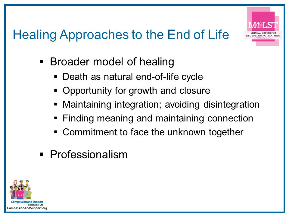 35 Healing Approaches to the End of Life  Broader model of healing  Death as natural end-of-life cycle  Opportunity for growth and closure  Mainta