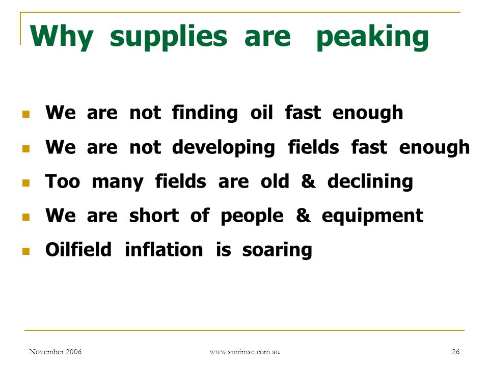 November 2006 www.annimac.com.au 26 Why supplies are peaking We are not finding oil fast enough We are not developing fields fast enough Too many fields are old & declining We are short of people & equipment Oilfield inflation is soaring
