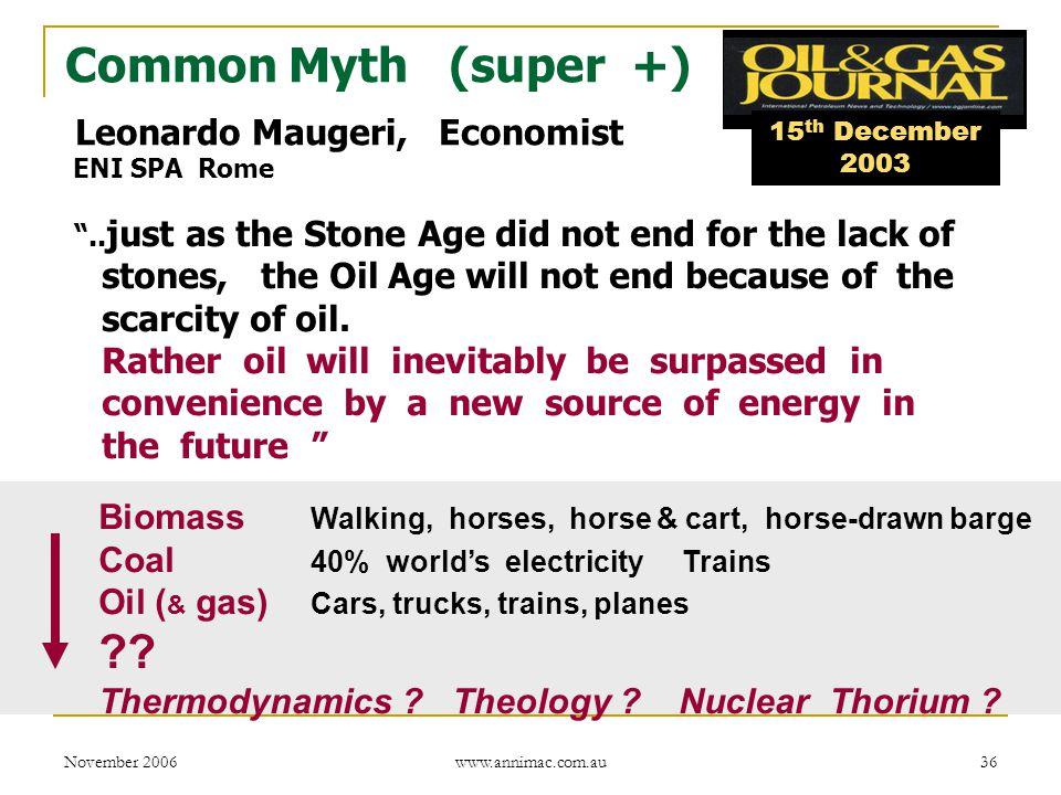 November 2006 www.annimac.com.au 36 Common Myth (super +) Leonardo Maugeri, Economist ENI SPA Rome ..