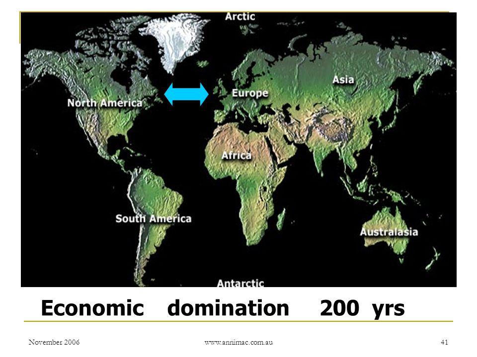 November 2006 www.annimac.com.au 41 Economic domination 200 yrs