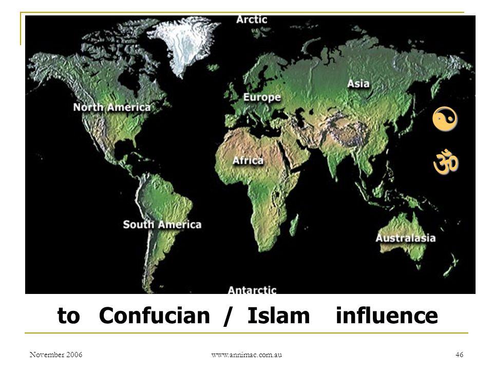 November 2006 www.annimac.com.au 46 to Confucian / Islam influence  