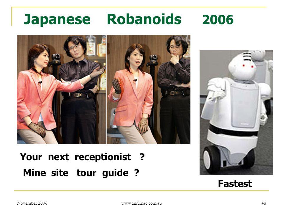 November 2006 www.annimac.com.au 48 Fastest Japanese Robanoids 2006 Your next receptionist .