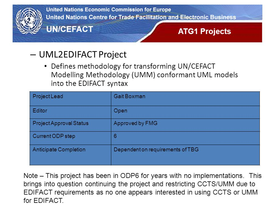 UN Economic Commission for Europe ATG1 Projects – UML2EDIFACT Project Defines methodology for transforming UN/CEFACT Modelling Methodology (UMM) confo