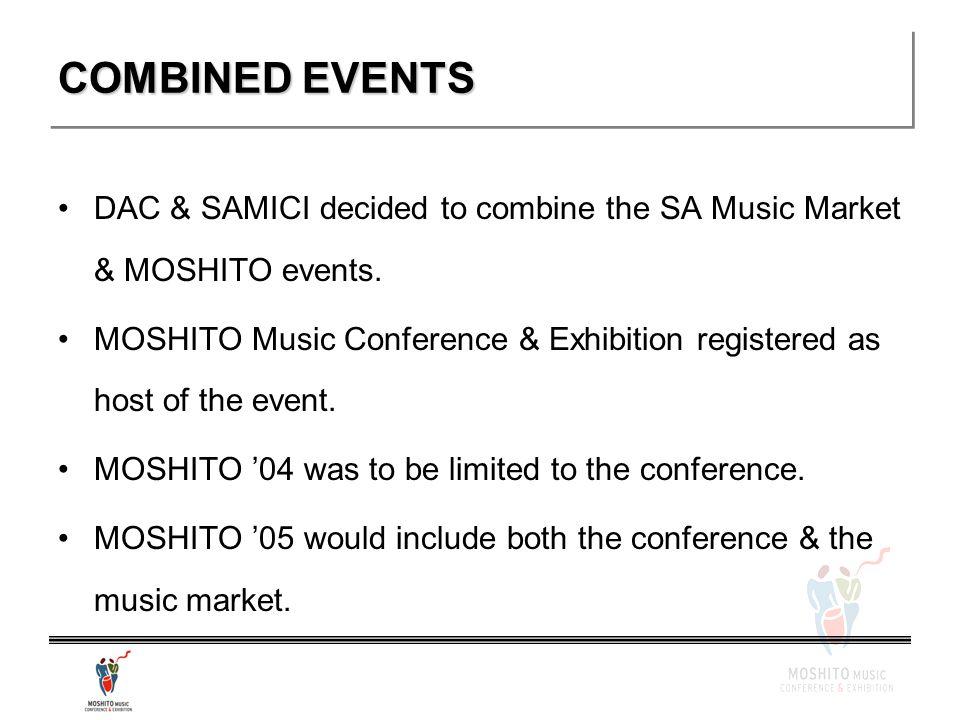 COMBINED EVENTS DAC & SAMICI decided to combine the SA Music Market & MOSHITO events.