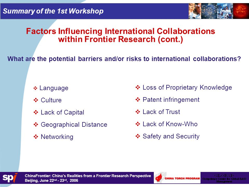 ChinaFrontier: China's Realities from a Frontier Research Perspective Beijing, June 22 nd - 23 rd, 2006 Summary of the 1st Workshop What are the potential barriers and/or risks to international collaborations.