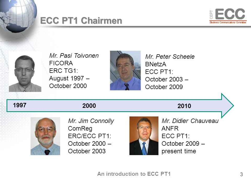 An introduction to ECC PT1 4 GSM, DECT IMT-2000/UMTS, MFCN Contributions – Deliverables ECC PT1 CEPT administrations Industry International organizations In average meeting: 78 participants with ~60 % representing industry 50 input documents 20+ ECC deliverables 10+ CEPT Reports