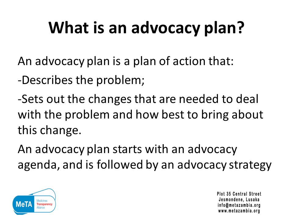 What is an advocacy plan.
