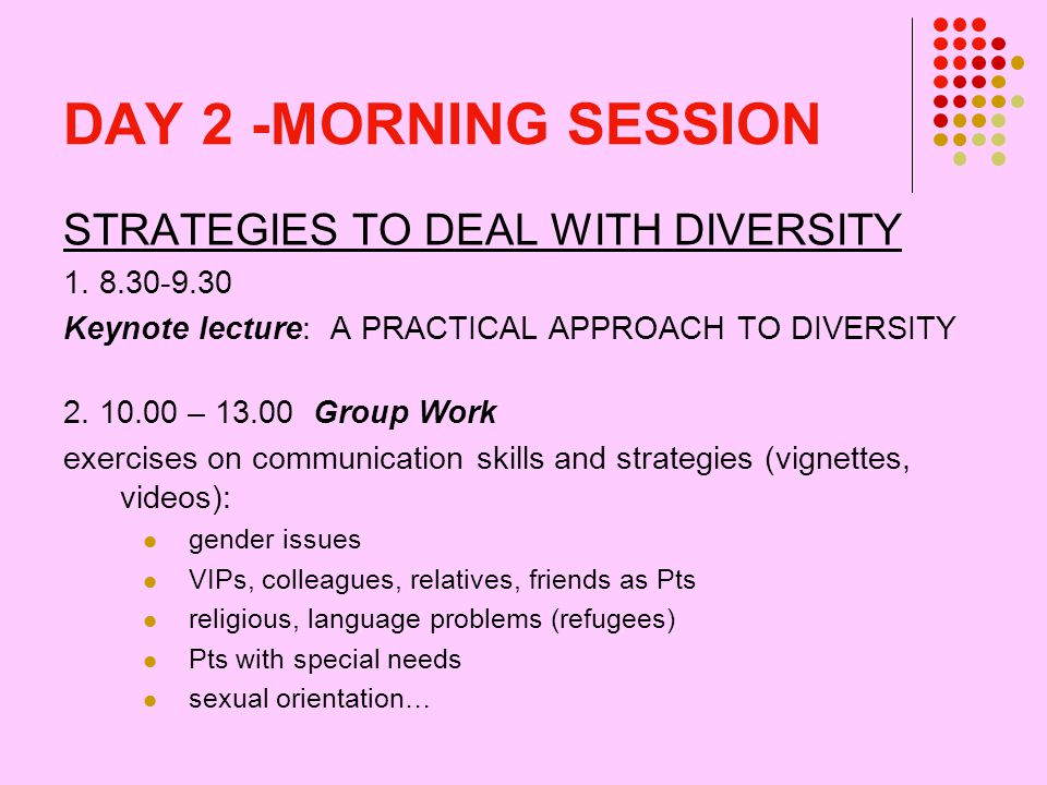 DAY 2 -MORNING SESSION STRATEGIES TO DEAL WITH DIVERSITY 1.