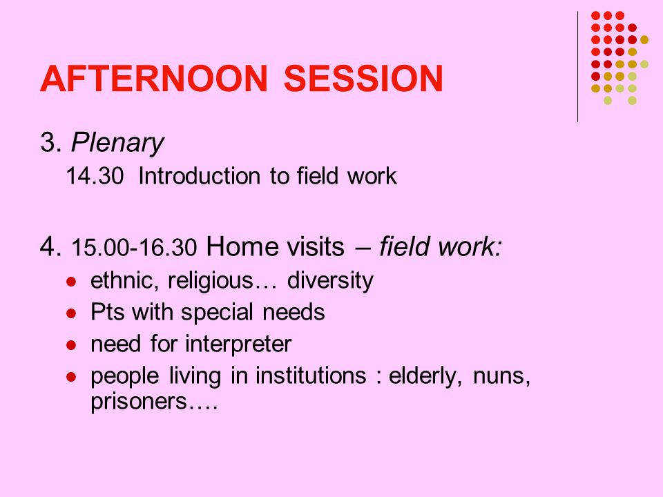 AFTERNOON SESSION 3. Plenary 14.30 Introduction to field work 4.