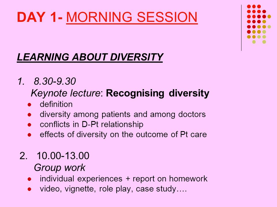 DAY 1- MORNING SESSION LEARNING ABOUT DIVERSITY 1.