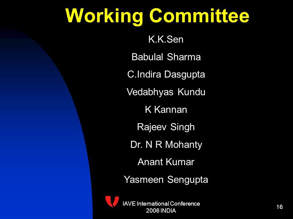 IAVE International Conference 2006 INDIA 16 K.K.Sen Babulal Sharma C.Indira Dasgupta Vedabhyas Kundu K Kannan Rajeev Singh Dr.