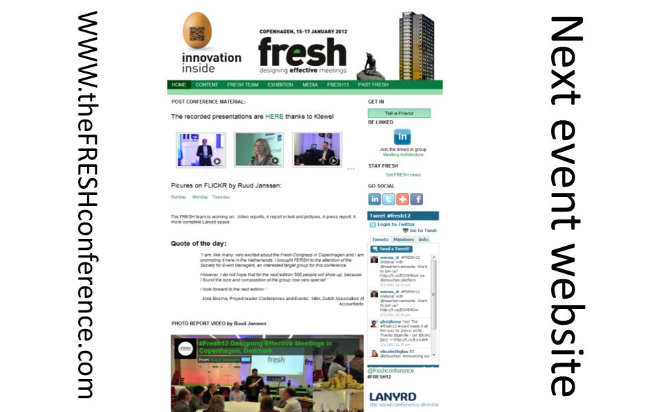 Next event website WWW.theFRESHconference.com