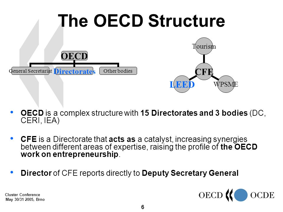 Cluster Conference May 30/31 2005, Brno 6 The OECD Structure OECD General Secretariat DirectoratesOther bodies CFE TourismWPSMELEED OECD is a complex structure with 15 Directorates and 3 bodies (DC, CERI, IEA) CFE is a Directorate that acts as a catalyst, increasing synergies between different areas of expertise, raising the profile of the OECD work on entrepreneurship.