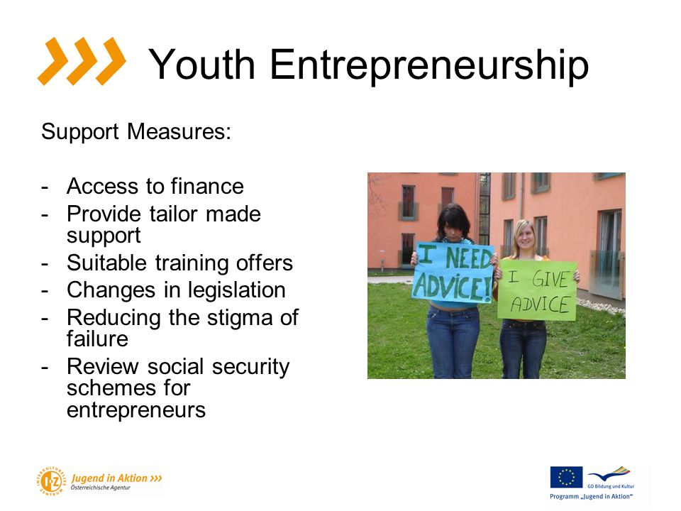 Youth Entrepreneurship Support Measures: -Access to finance -Provide tailor made support -Suitable training offers -Changes in legislation -Reducing the stigma of failure -Review social security schemes for entrepreneurs
