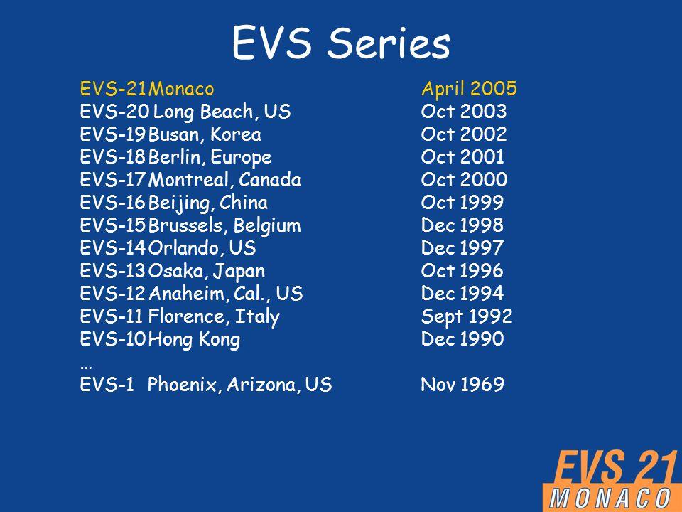 EVS Series EVS-21MonacoApril 2005 EVS-20 Long Beach, USOct 2003 EVS-19Busan, KoreaOct 2002 EVS-18Berlin, EuropeOct 2001 EVS-17Montreal, CanadaOct 2000 EVS-16Beijing, ChinaOct 1999 EVS-15Brussels, BelgiumDec 1998 EVS-14Orlando, USDec 1997 EVS-13Osaka, JapanOct 1996 EVS-12Anaheim, Cal., USDec 1994 EVS-11Florence, ItalySept 1992 EVS-10Hong KongDec 1990 … EVS-1Phoenix, Arizona, USNov 1969