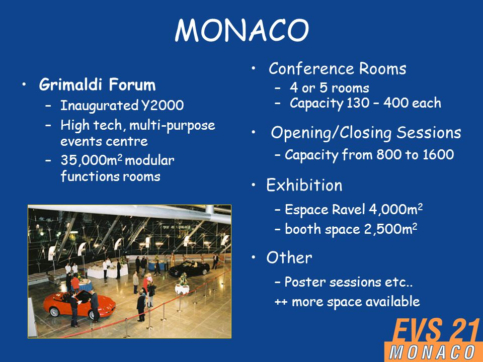MONACO Grimaldi Forum –Inaugurated Y2000 –High tech, multi-purpose events centre –35,000m 2 modular functions rooms Conference Rooms –4 or 5 rooms –Capacity 130 – 400 each Opening/Closing Sessions – Capacity from 800 to 1600 Exhibition – Espace Ravel 4,000m 2 – booth space 2,500m 2 Other – Poster sessions etc..