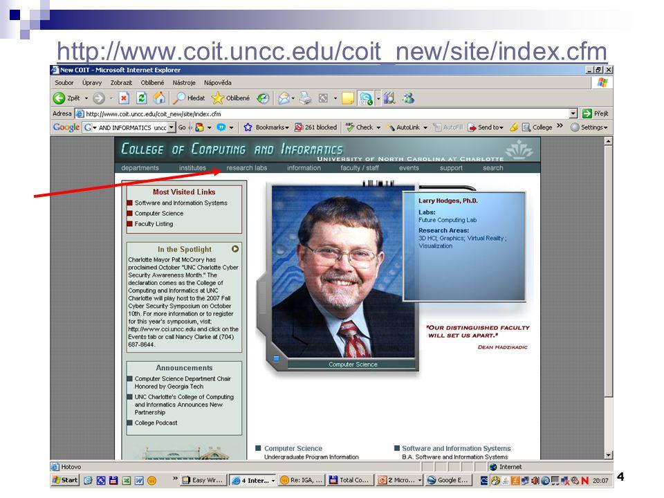 4 http://www.coit.uncc.edu/coit_new/site/index.cfm