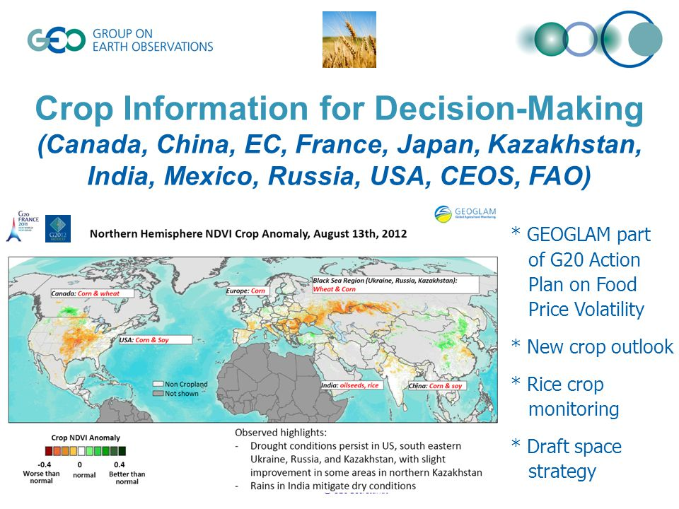 © GEO Secretariat Crop Information for Decision-Making (Canada, China, EC, France, Japan, Kazakhstan, India, Mexico, Russia, USA, CEOS, FAO) * GEOGLAM part of G20 Action Plan on Food Price Volatility * New crop outlook * Rice crop monitoring * Draft space strategy