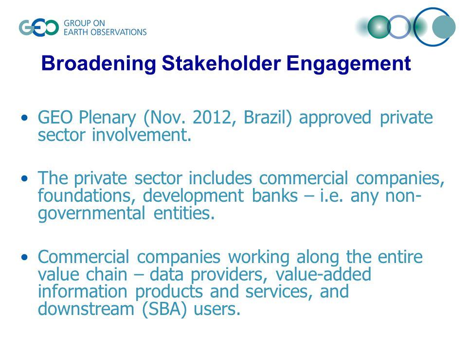GEO Plenary (Nov. 2012, Brazil) approved private sector involvement.
