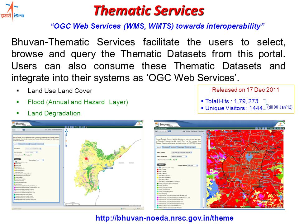 Thematic Services Bhuvan-Thematic Services facilitate the users to select, browse and query the Thematic Datasets from this portal.